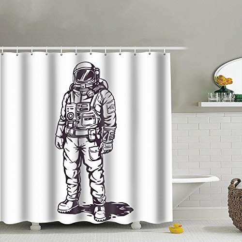 best bags Astronaut Spaceman Suit White The Arts Advertising Technology Uphome Fabric Shower Curtain,Bathroom Cloth Shower Curtain Set with Hooks, Heavy Duty Waterproof, 66X72 Inch]()