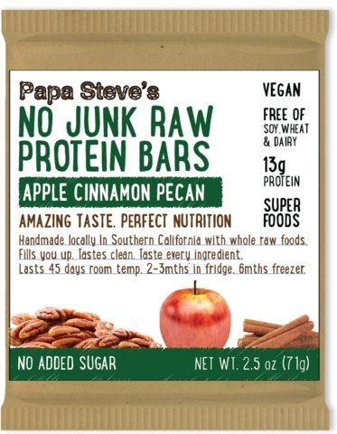 Papa Steve's No Junk Raw Protein Bars, Apple Cinnamon Pecan, 2.2 Oz, 10 Count
