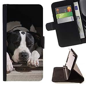 Momo Phone Case / Flip Funda de Cuero Case Cover - Boston Terrier Perro Negro Blanco; - Samsung Galaxy Note 4 IV