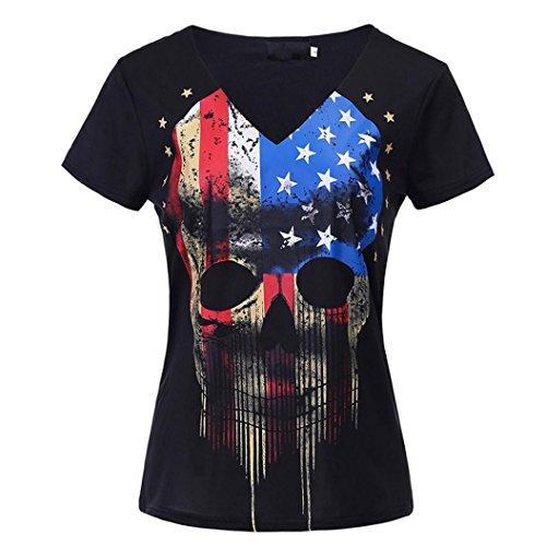 Vanvler Women Short Sleeve Shirt Ladies Skull American Flag Print Female Top Blouses (M, Black) - Baby Gap Patchwork