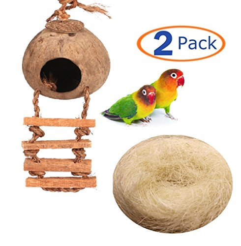 Hamiledyi Bird cage Natural Cage Toy for Pet Bird Natural Coconut Fiber for Bird Nest(Pack of 2) - Exotic Natural
