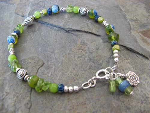 Blue Agate Artisan Gem - Gemstone Sterling Silver Bracelet Peridot Agate Kyanite Lime and Blue Artisan Jewelry