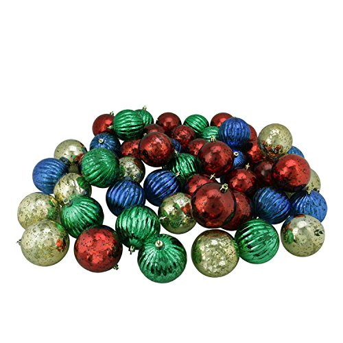 Northlight 150ct Shiny Red, Blue, Green and Gold Shatterproof Mercury Ball Christmas Ornaments 3.25'' (80mm) by Northlight (Image #1)