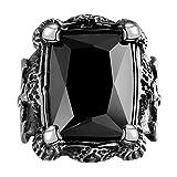 Cheo Rish Men's Titanium Steel Vintage Black Ruby Ring,Big Stone