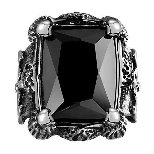 [Cheo Rish Men's Titanium Steel Vintage Black Ruby Ring,Big Stone] (Mens Dallas Cowboy Football Costumes)
