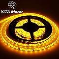 YITAMOTOR Yellow Amber 12V DC Flexible LED Strip Lights, 16.4ft/5m LED Light Strips, 300 Units 3528 LEDs, waterproof IP 65 Lighting Strips, LED Tape