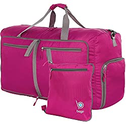 """bago Travel Duffle Bag for Women & Men - Foldable Duffel Bags for Luggage Gym Sports (Large 27"""",Pink)"""
