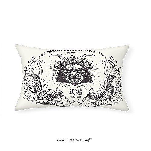 VROSELV Custom pillowcasesAsian Traditional Japanese Samurai Mask Koi Fish Martial Arts Lifestyle Tokyo Typography for Bedroom Living Room Dorm Coconut Grey(16''x24'') by VROSELV