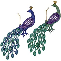 "Kurt Adler 4.5"" Peacock Ornament Set"