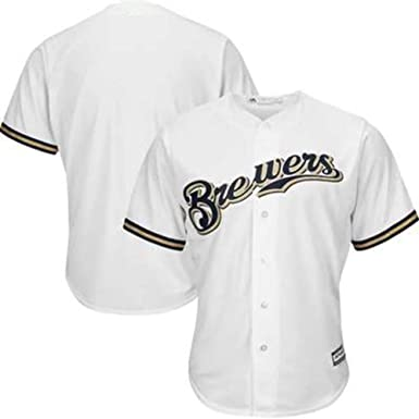 Camiseta de béisbol Jersey Blanca para Hombres-Cerveceros de Milwaukee Ropa técnica Profesional Camiseta de Atleta Equipo de partidarios Ventiladores de Manga Corta Sudadera-White-XL(185.190CM): Amazon.es: Ropa y accesorios