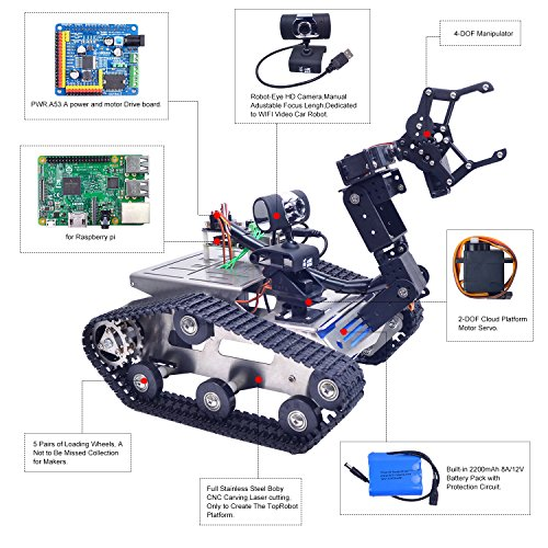 XiaoR Geek Wifi manipulator smart Robot car kit for Raspberry Pi,Tank chassis FPV Camera Programable Robotics Vehicle Kit with 8Gb TF Card by iOS Android PC Controlled by XiaoR Geek (Image #3)