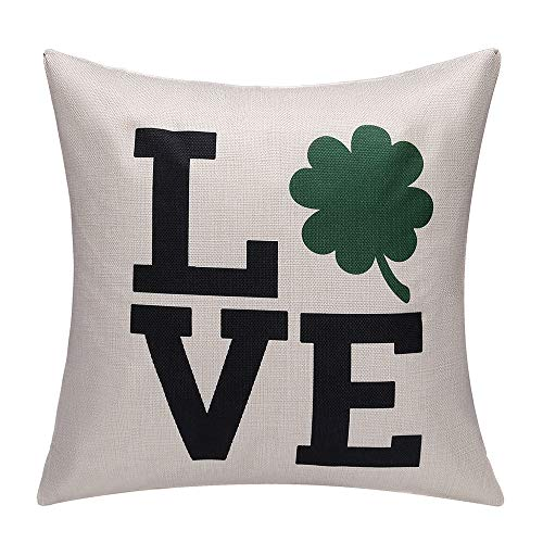 Throw Cotton Irish (Brital St.Patricks Day Green Irish Embroidery 4 Leaf Clover Throw Pillow Covers Cushion Case Celebrate Saint Patrick's Day Cotton Linen 18x18)