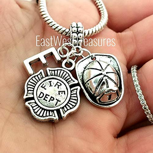 Personalized Firefighter fireman helmet charm bracelet and necklace and KEychain-Jewelry gift for men women