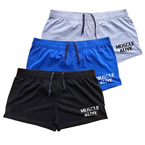 (MUSCLE ALIVE Mens Bodybuilding Shorts 3