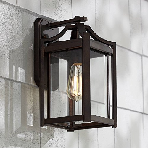 Backplate Iron - Rockford Rustic Farmhouse Outdoor Wall Light Fixture Bronze Iron 12 1/2
