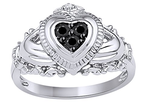 Black & White Cubic Zirconia Claddagh Ring In 14k White Gold (0.17 Cttw) Ring Size-9