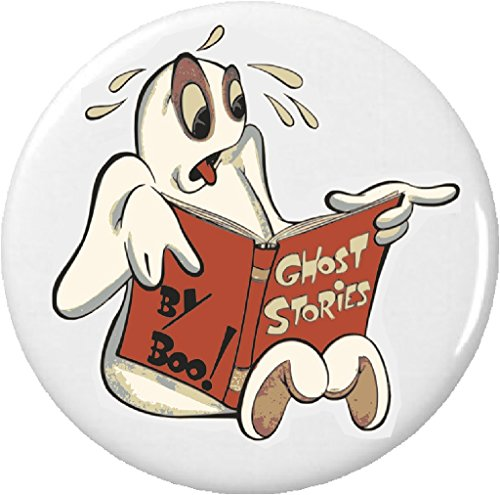 "Ghost Reading Ghost Stories Classic Halloween 2.25"" Large Pinback Button -"