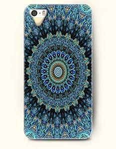 OOFIT New Apple iphone 5 / 5S Hard Back Case - MANDALA CIRCLE - Navy Yellow Ancient Mandala Circle pattern