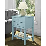 Accent End Table with 2 Storage Drawers – Bedroom Nightstand – Contemporary Living Room Colroed Side Table (Blue) Review