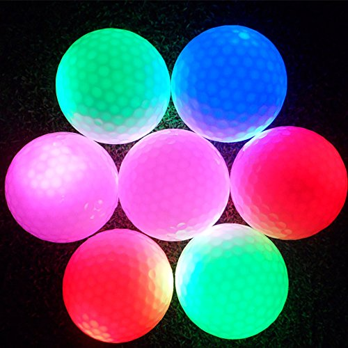eecoo LED Light Up Golf Ball, Best Hitting Ultra Bright Color Flashing Golf Ball, 100% Rubber Material Professional Practice Novelty Golf for Dark Night Sport Practice Training -