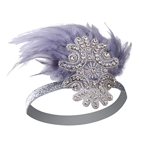 - VIJIV Feather Headpiece 1920s Vintage Headband Fascinator Flapper Deco Purple Grey