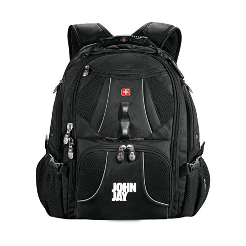 John Jay College Wenger Swiss Army Mega Black Compu Backpack 'Official Logo' by CollegeFanGear