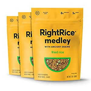 RightRice Medley - Fried Rice (7oz. Pack of 3) - Made from Vegetables – Ancient Grains and More Veggies, Vegan, non GMO, Gluten Free