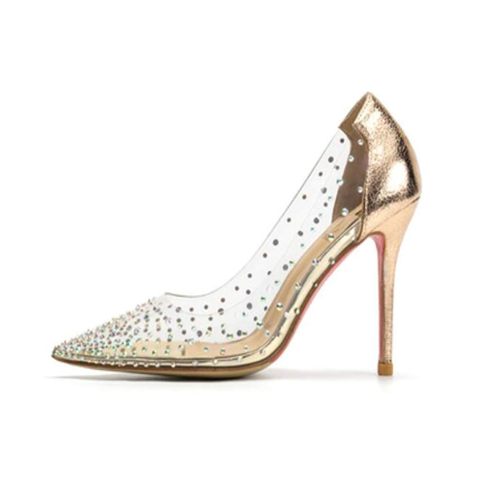 gold 3.94inches Milugold Women Pointed Toe Transparent Rhinestones High Heels Party Wedding Pumps