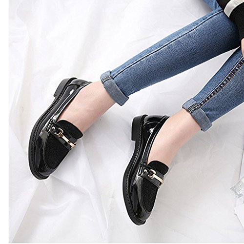 Hoxekle Womens Metal Buckle Color Stitching Low Top Low Heels Punta Tonda Slip On Mocassini Scarpe Nere