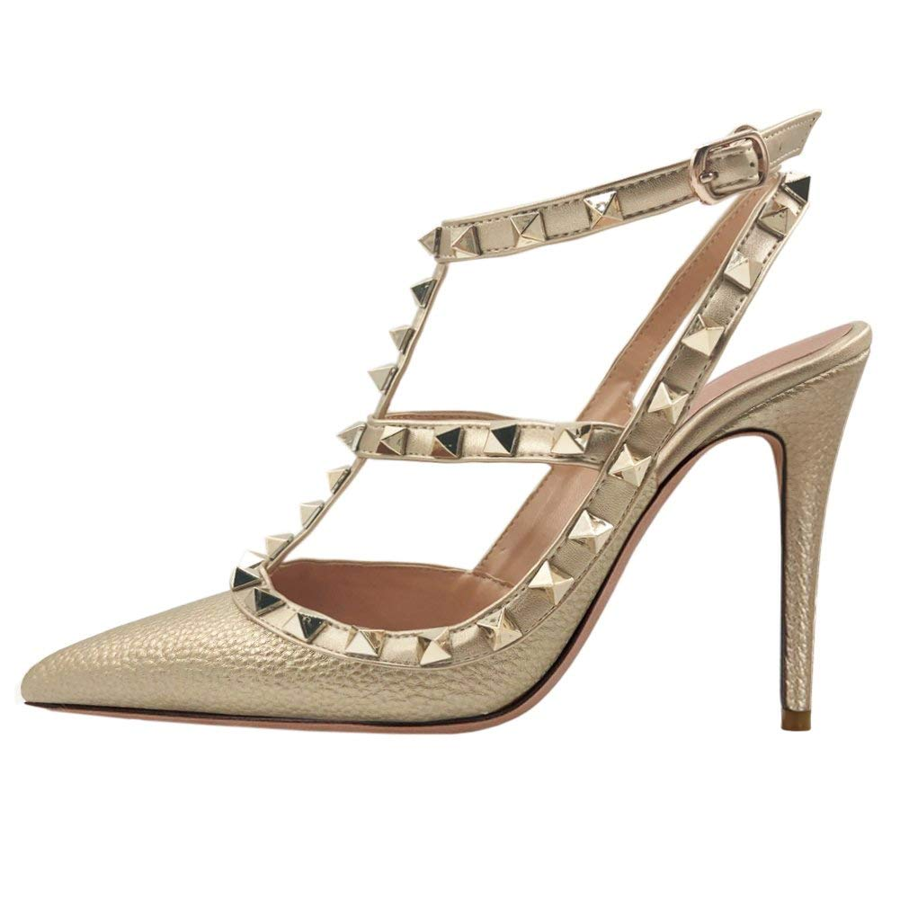 gold VOCOSI Women's Pointed Toe Studded Ankle Strap Slingback Stiletto Heels Dress Party Wedding Rivets Sandals