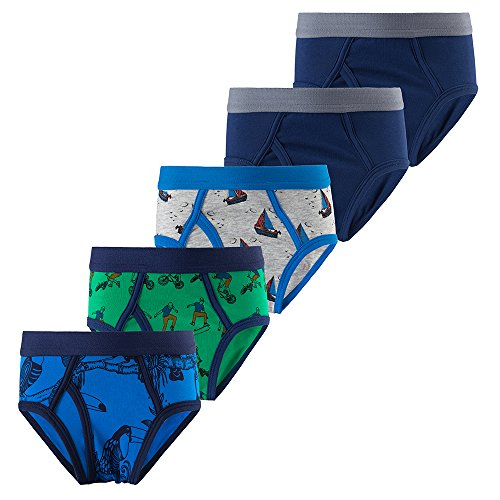 B.GKAKA Big Boys 5-Pack Briefs Solid Color Kids Underwear Solid Navy 2 Pack/Gray/Green/Blue L 10-12Yrs
