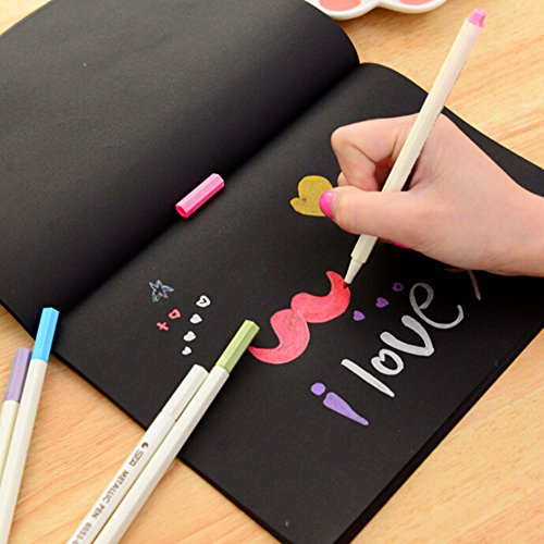 Doodle Art Papers Cards Pad Sketchbook Graffiti Book Diary Sketch Drawing Black Notebook Stationary Gift Blank Drawing Book for Kids and Adults size S by Baost (Image #6)