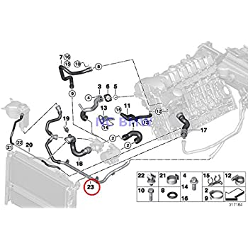 bmw genuine cooling coolant hose heater return - thermostat line 128i 128i  323i 325i 328i 330i