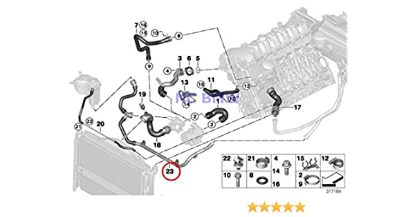 amazon.com: bmw genuine cooling coolant hose heater return ... 2008 bmw 335i convertible engine diagram  amazon.com