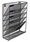 hanging tray - Mesh Wall Mounted Hanging Document & File Organizer - 5 Compartment Vertical Magazine Rack & Mail Sorter/Holder Tray - Black…