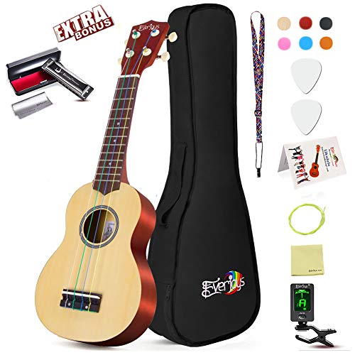 (Soprano Ukulele Beginner Pack-21 Inch w/Rainbow String Gig Bag Fast Learn Songbook Digital Tuner All in One Kit)
