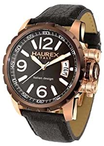 Haurex Italy Aeron Black Dial Watch #8R321UN1 - Reloj de caballero de cuarzo, correa de piel color negro