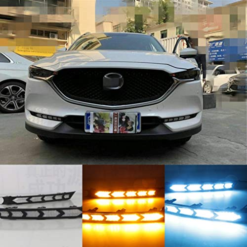 [해외]Auto-Tech 1 Set Car LED light Daytime Running Light Retrofit LED Streamer Turn yellow light color DRL kit For For Mazda CX-5 2017-2018 (White +Yellow Light to Ice blue light Style B) / Auto-Tech 1 Set Car LED light Daytime Running ...