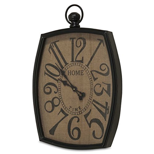 Farmers Market Burlap Clock, Home Time Imprint, Rustic Reclaimed Style, Over 2 1/2 Feet Tall (19 3/4 L x 2 3/4 W x 30 H Inches) Iron Frame, Black and Brown, 1 AA Battery Required