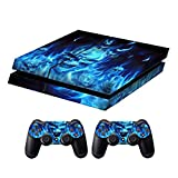 PS4 Skins Playstation 4 Games Decals Sony PS4 Games PS4 Controller Stickers PS4 Remote Controller Skin PS4 Accessories PS4 Console Sticker and Two Dualshock 4 PS4 Remote Play Vinyl Decal Skull of Blue Fire