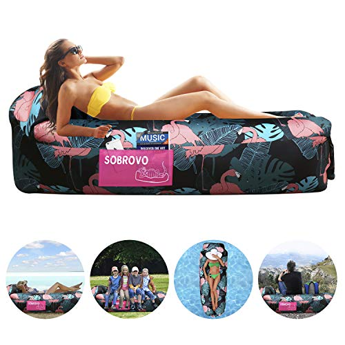 Inflatable Lounger Air Sofa Portable Waterproof Inflatable Pouch Couch with Pillow and Carrying Bag for Outdoor Camping, Picnics, Pool, Travel, Hiking, Beach (Flamingo)