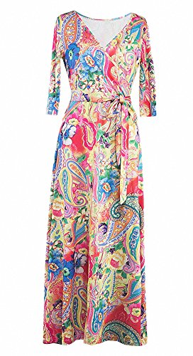 Afibi Womens Bohemian 3/4 Sleeve Faux Wrap Maxi Dress with Belt (XX-Large, Design 4) ()