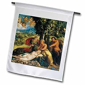 BLN Beautfiul Nudes fina colección de arte–escena mitológica–por Dosso Dossi–18x 27inch jardín bandera (FL _ 127980_ 2)