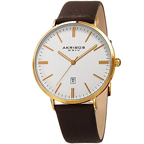 Akribos XXIV Men's Gold-Tone Case with Gold-Tone Accented Textured White Dial on Black Genuine Leather Strap Watch AK935YG (Dial White Polished)