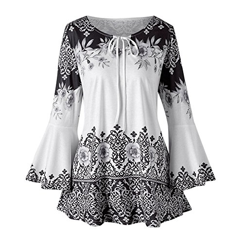 ZEFOTIM Fashion Womens Plus Size Printed Flare Sleeve Tops Blouses Keyhole T-Shirts (US-10/CN-L,Black)]()
