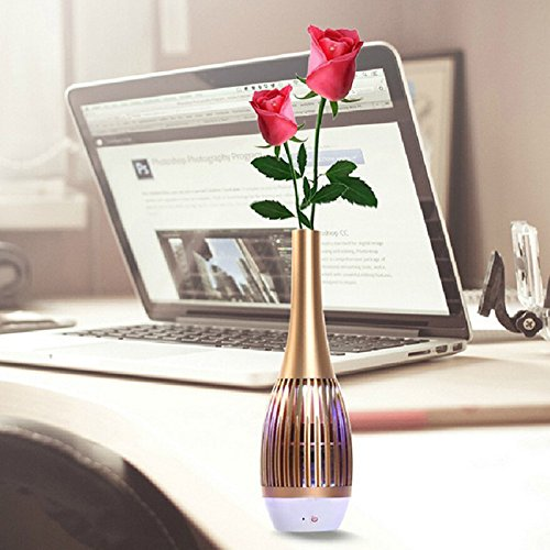 SZCHENGCI Music Vase Bluetooth V4.0 Wireless Smart Speaker with APP Control Dual Drive Stereo Sound Dancing Light Built-in Mic (Gold)