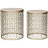 Joveco Metal Iron Strip Structure Stool Gold Nesting tables End Table Side Table (Set of 2)