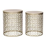 Cheap Joveco Metal Iron Strip Structure Stool Gold Nesting tables End Table Side Table (Set of 2)