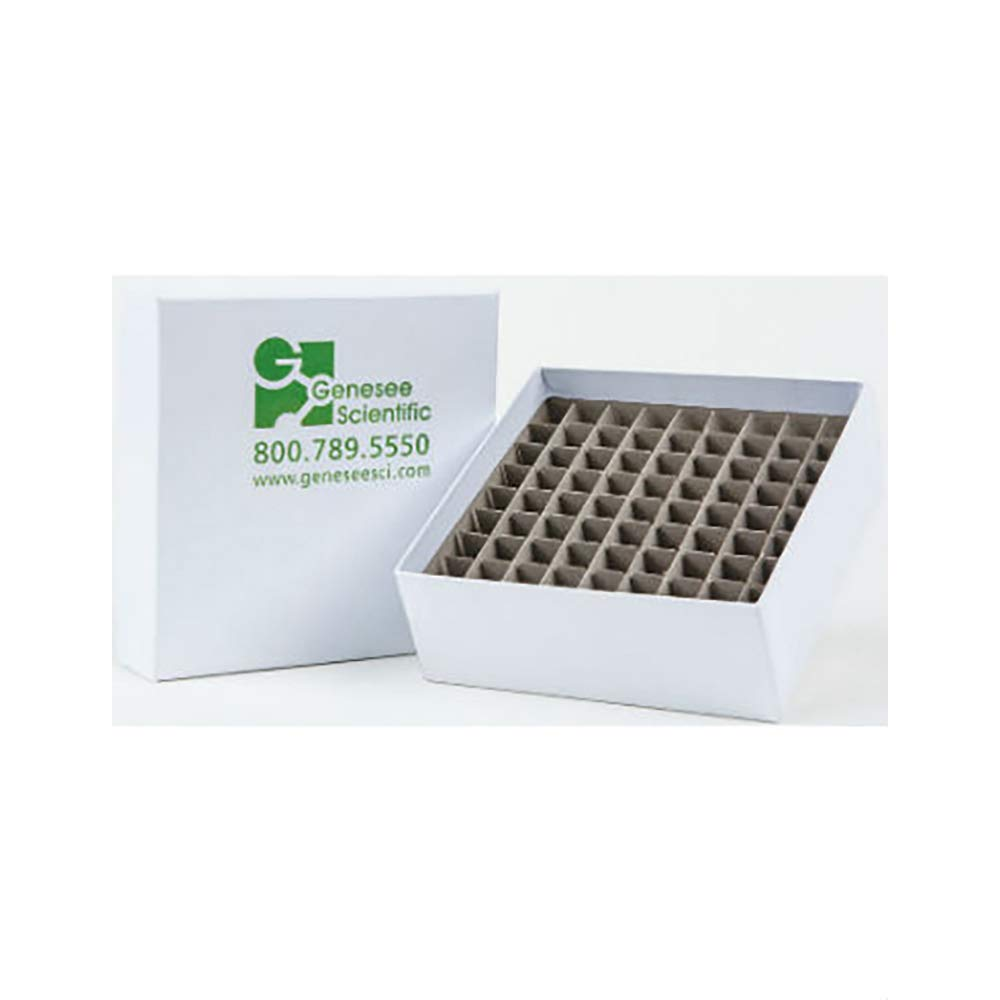 2-inch Cardboard Box w/Lid, White, 81-Place Divider, 50 Boxes/Unit
