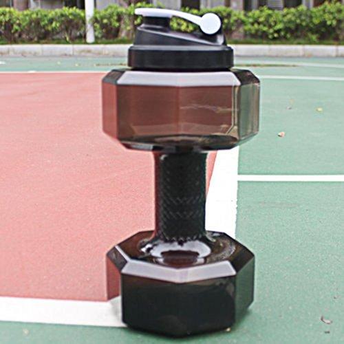 Lanhui_2.2 L PETG Dumbbells Large Water Bottle Free Sports Running Fitness Kettle Gym C (Black)